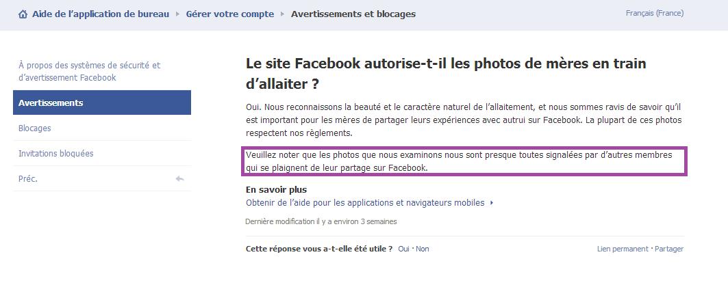 Facebook conditions photos allaitement
