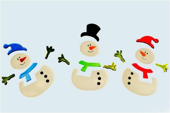 Stickers bonhomme de neige pour un anniversaire sur le thème de l'hiver.